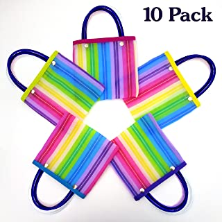 Small Mercado Candy Tote Bags for Mexican Theme Party (10 Pack) - Fiesta Mexicana Favors, Gifts, Supplies & Decorations - Mini Goodie Treat Bags - Bolsitas Mexicanas para Dulces - Bolsas De Fiesta