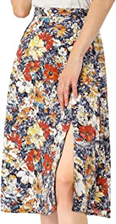 Allegra K Women's High Waist Slit Hem A-Line Floral Skirt