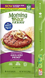 Morningstar Farms, Veggie Burgers, Grillers Prime, Vegetarian, 10 oz (4 Count)