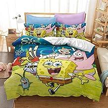 JLKPG Sponge Bob Squarepants Three-Piece 3D Anime Quilt Cover Pillowcase Bedding, 100% Polyester Fiber Soft and Comfortabl...
