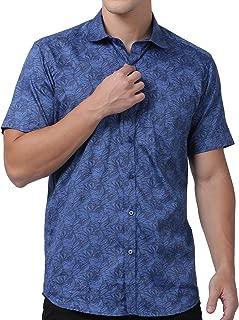Zeal Floral Printed Cotton Slim Fit Half Sleeves Shirts for Men Blue