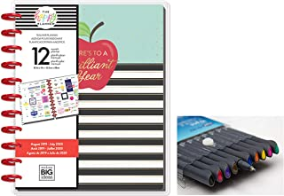 me & My Big Ideas Create 365 The Happy Planner Big Teacher: Brilliant Year, 12 Month Planner, Aug 2019 - July 2020 Comes with Kemah Craft 10 pc Fineliner Color Pens (Bundle PLNA-20)