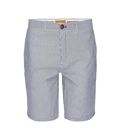 Nifty Genius Morgan Bermuda Stretch Shorts in Stripe Seersucker (Blue/White) Men