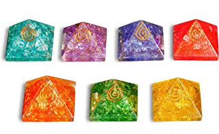 FASHIONZAADI Seven Chakra Onyx Stone Orgone Pyramid 7 Pcs Set Crystal Gemstone Energy Chakras Balancing EMF Protection Aur...