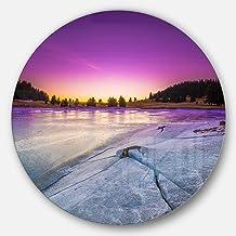 Designart Sunrise Over Frozen Lake Landscape Metal Artwork - Disc of 23 23'' H x 23'' W x 1'' D 1P Purple