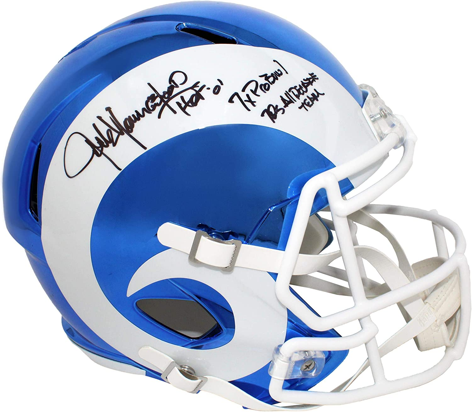 Jack Youngblood Signed Los Angeles Rams Chrome Riddell Full Size Replica Helmet w HOF'01, 7X Pro Bowl, 70's All Decade Team