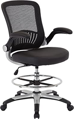 Office Star Breathable Mesh Back and Padded Faux Leather Seat Drafting Chair with Flip Arms and