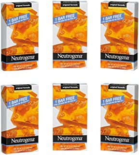 Neutrogena Original Fragrance-Free Facial Cleansing Bar with Glycerin, Pure & Transparent Gentle Face Wash Bar Soap, Free of Harsh Detergents, Dyes & Hardeners, 3 count (Pack of 6)