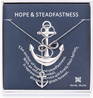 Anchor Infinity Pendant Women Necklace 925 Sterling...