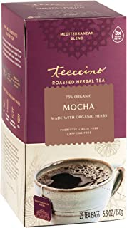 Teeccino Herbal Tea – Mocha – Rich & Roasted Herbal Tea That's Caffeine Free & Prebiotic for Natural Energy, 25 Tea Bags