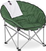 Relaxdays Moon Chair XXL, opvouwbare campingstoel, h x b x d: 96 x 100 x 74 cm, gestoffeerd, klapstoel met tas, donkergroen