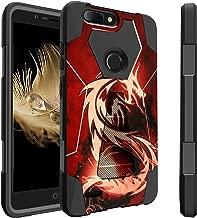 Untouchble Case for ZTE Sequoia, ZTE Zmax Pro 2 Case, ZTE Blade Z MAX Case Kickstand Case [Traveler Series] Combat Shockproof Dual Layer Hybrid Case with Kickstand - Red Dragon