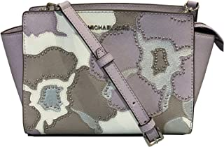 Michael Kors Selma Medium Studded Saffiano Leather Satchel Messenger Crossbody Bag (Lilac Multi)