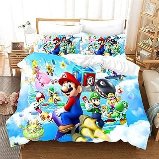 AMTAN 3D SuperMario Duvet Cover Set Kids Teen Adult Bedding Set 100% Microfiber Bed Set 3 Piece 1 Duvet Cover+2 Pillow Shams Twin Full Queen King Size