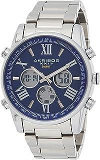 Akribos Multifunction High Tech Smartwatch - Analog-Digital Display Watch, Health Stats Tracking - 3 Digital Subdials on Stainless Steel Bracelet- AK1095
