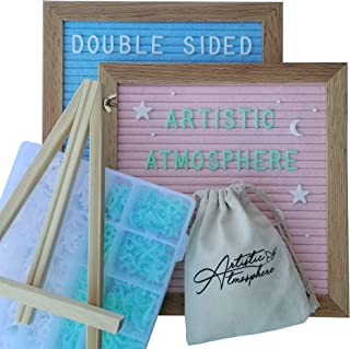 Double Sided Felt Letter Board - Pink and Blue Felt with White and Green Pre-Cut Letters - Baby Announcement Board with Accessories, for Baby Registry Gifts for Expecting Moms and Baby Girl or Boy