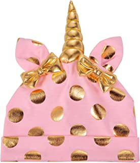 Lux Accessories Unicorn Polka Pink Unicorn Warm Bow Hats Infant Kid Beanie Hat