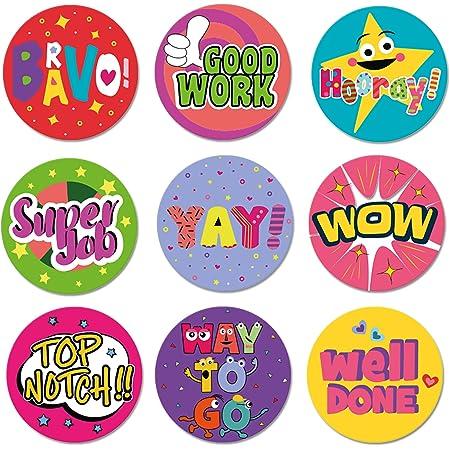 CiciBear Teacher Reward Motivational Stickers for Kids 1000 Pieces Student Incentives in 8 Designs,2 Rolls,1 Inch in Diameter