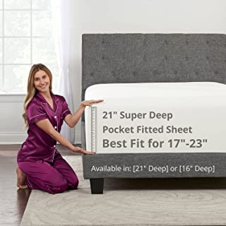 """Deep Fitted Sheets King – King Size Fitted Sheet Only Deep Pocket – 21"""" King Fitted Sheet Deep Pocket Perfectly Fit 17""""–2..."""
