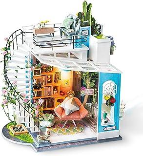 Rolife DIY Miniature Dollhouse Kit Duplex Loft Model Building Sets Gifts for Teens/Adults (Dora's Loft)