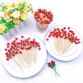 JZK 200 x Palillos de dientes cóctel decoración 12 cm con corazón rojo para fiesta decoración tapas aperitivo canapes pincho fruta