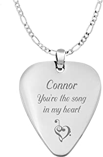 Personalized Silver Stainless Steel Guitar Pick Necklace Pendant Custom Engraved Free Front & Back
