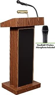 Oklahoma Sound 800X-MO/LWM-5 Orator Lectern and Handheld Mic, Medium Oak