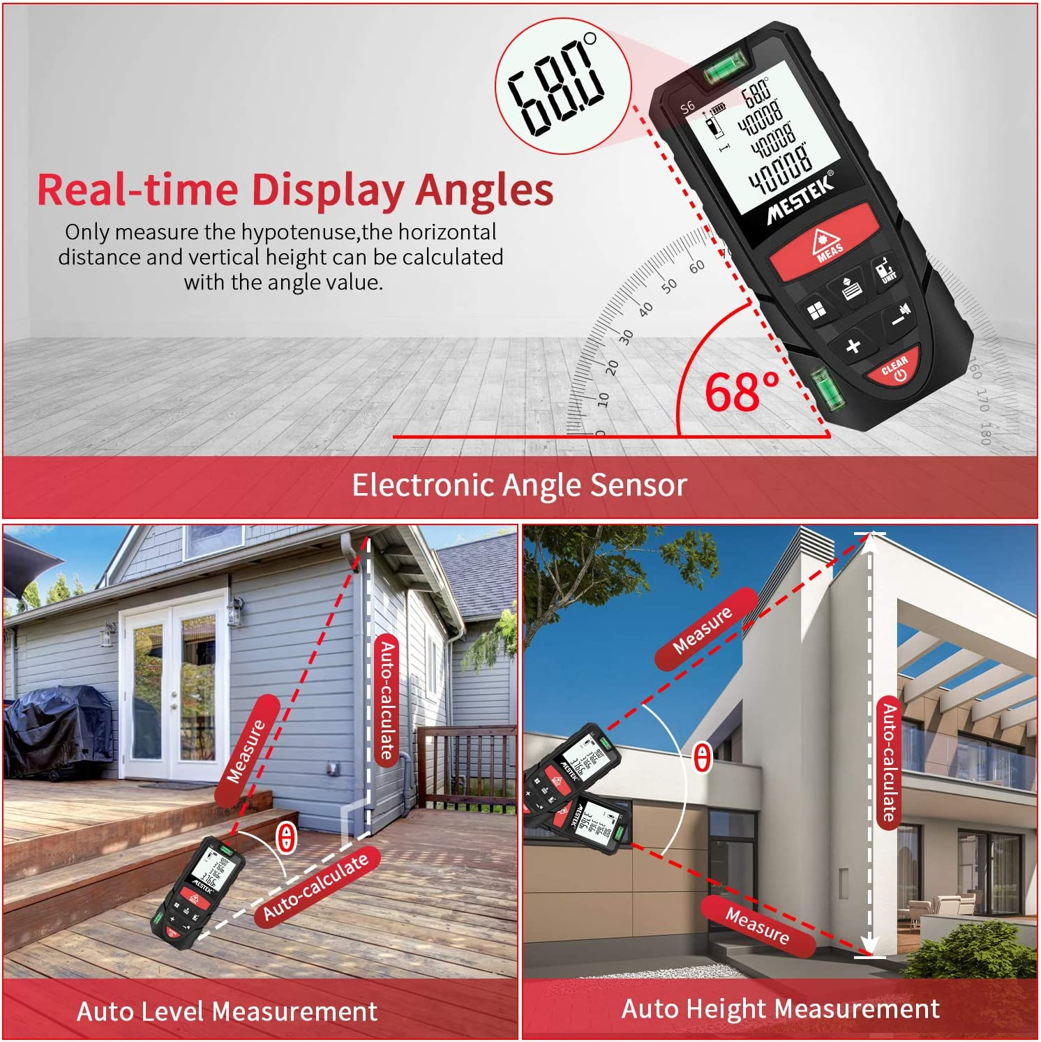 Laser Measure Mestek 229Ft M//In//Ft Laser Distance Meters with 2 Bubble Levels and Electronic Angle Sensor for Pythagorean Carry Pouch and Battery Included Distance Area and Volume Measuring