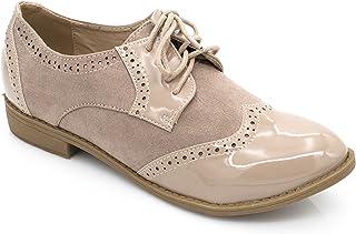d7904e6065f1b6 Fashion Shoes Derbies Femmes en Lacet Bi-Maitère - Chaussures Dames Talon  Bloc Bas –