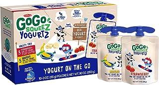 GoGo squeeZ yogurtZ, Variety Pack (Strawberry/Banana), 3 Ounce (10 Pouches), Low Fat Yogurt, Gluten Free, Pantry-friendly, Recloseable, BPA Free Pouches
