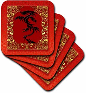 3dRose Chinese Zodiac Year of The Dragon Chinese New Year Red, Gold and Black - Ceramic Tile Coasters, Set of 4 (CST_101857_3)