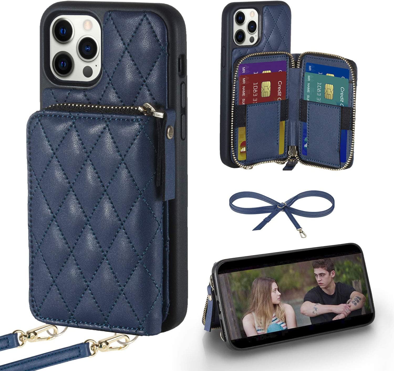 LAMEEKU iPhone 11 Pro Max Wallet Case, iPhone 11 Pro Max Card Holder Case Crossbody Purse Case Quilted Leather Lady Handbag Case Shockproof Case Compatible with iPhone 11 Pro Max, 6.5