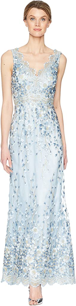Tahari by ASL Embroidered Sleeveless Gown