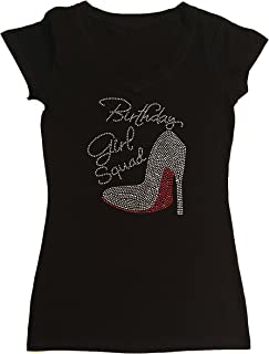 Women's T-Shirt with Red Birthday Girl Squad with Heel in Rhinestones