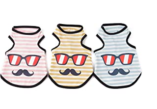 Pet Heroic 3 Pack Puppy Dog Sleeveless T-Shirts Summer Dog Puppy Basic Vest Shirt Clothes Summer Vacation Enjoy Sunshine Pink Blue Yellow Color Only for Small Dogs Cats Puppy - Weight 2.5-20 pounds