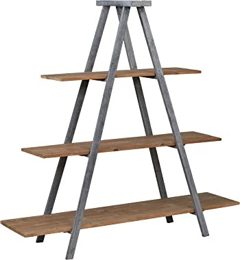 "Amazon Brand – Stone & Beam Bryson A-Frame Bookcase Shelf Stand, 70.7""W, Wood and Iron"