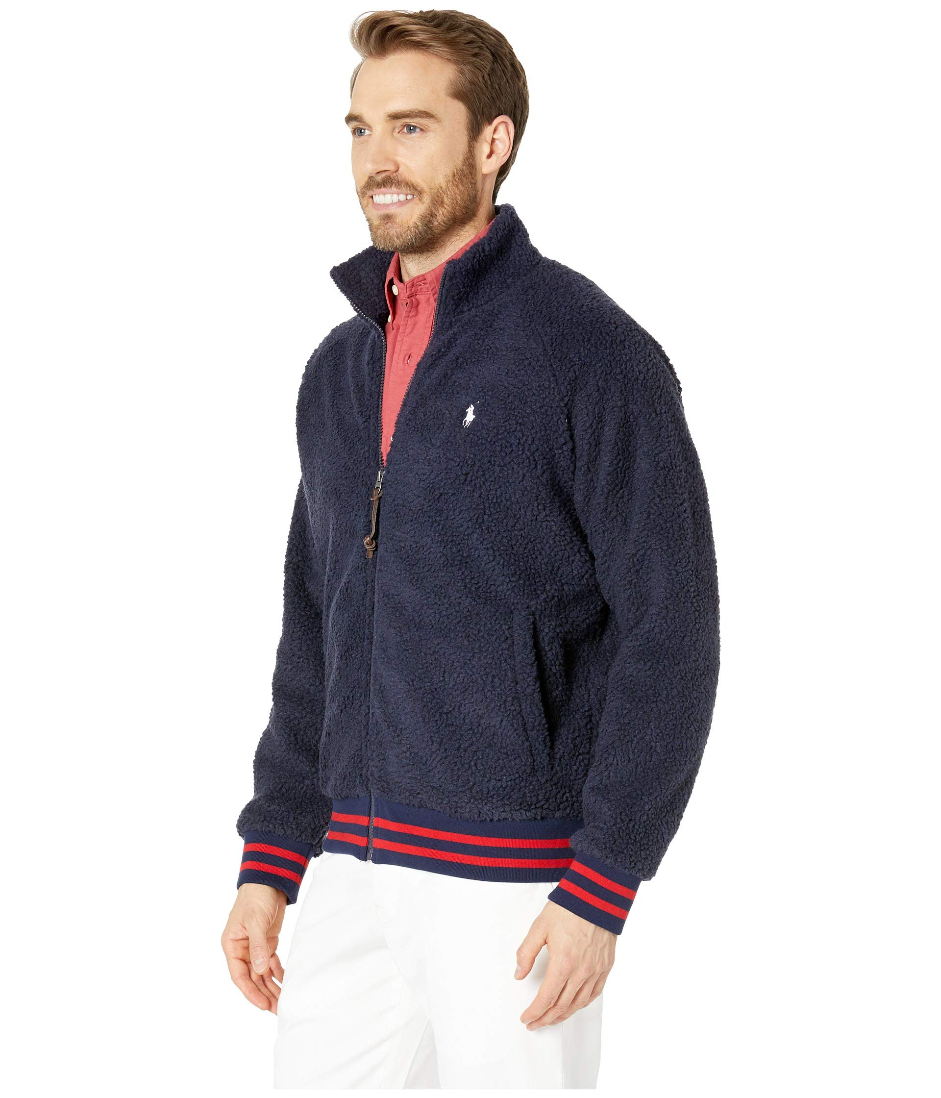 Knit Ralph Long Sherpa Polo Cruise Sleeve Navy Vintage Lauren xfndwBqY