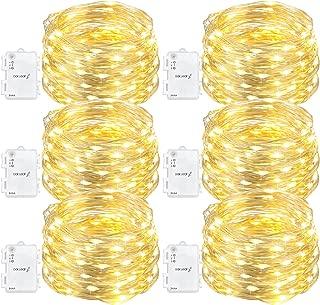 Oak Leaf 60-LED Fairy Lights,6-Pack Battery Operated String Lights,Warm White,9.8ft