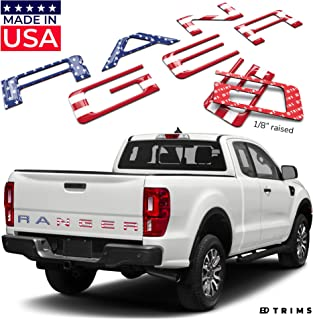 BDTrims Tailgate Domed 3D Raised Letters Compatible with 2019 2020 Ranger Models (USA Flag Reflective)