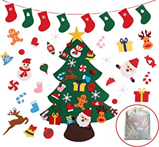 Felt Christmas Tree, DIY Christmas Tree for Kids with 26pcs Ornaments and Stockings banner, Wall Hanging Xmas Gifts Christmas Decorations