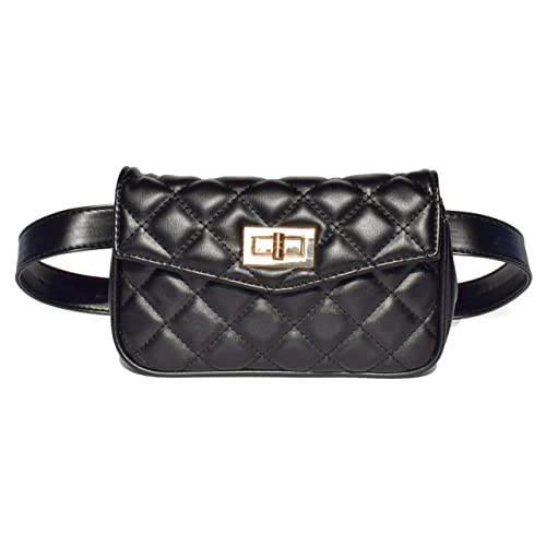 9cf34af158ae Womens Elegant Quilted Faux Leather Fanny Pack Cute Waist Pouch Stylish  Travel Cell Phone Waist Bag