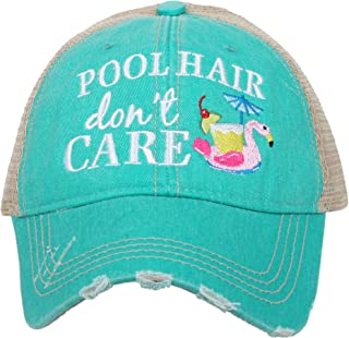 Katydid Womens Pool Hair Don't Care Swan Float Embroidered Trucker Hat