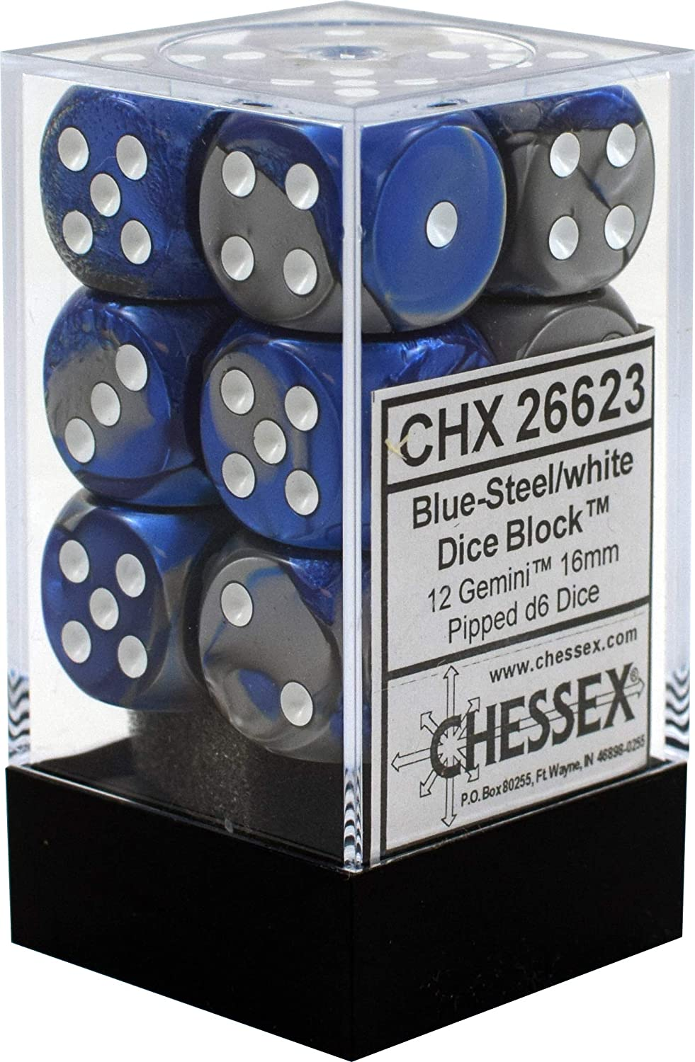 Chessex Dice d6: Gemini Blue Steel Sided free 16mm - Bombing free shipping White Six with