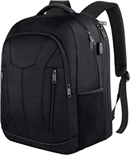 Travel Laptop Backpack, TSA Friendly Durable Extra Large Backpacks for Men Women,Water Resistant College School Computer Bag with USB Charging Port and Luggage Sleeve Fit 17 Inch Laptop, Black