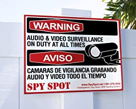 Placa CCTV de plástico Warning Audio and Video Surveillance on Duty At All Times em inglês/espanhol