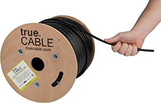 trueCABLE Cat6 Outdoor, Shielded FTP, 500ft, Waterproof, Direct Burial Rated CMX, Black, 23AWG Solid Bare Copper, 550MHz, ETL Listed, Bulk Ethernet Cable