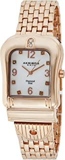 Akribos XXIV Women's Gold Diamond Watch - Crystal Buckle Bezel - Mother of Pearl Dial - Rose Gold Bracelet Strap- AK525
