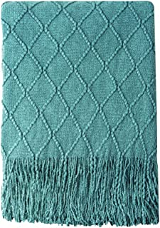 BOURINA Textured Solid Soft Sofa Throw Couch Cover Knitted Decorative Blanket, 50