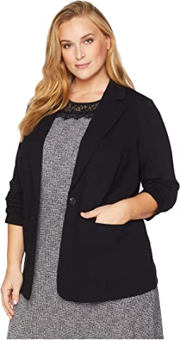 Plus Size Ruched Sleeve Ponte Two-Pocket Blazer