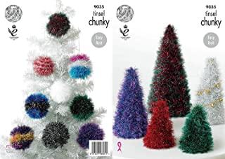 King Cole Tinsel Chunky Knitting Pattern for Festive Decorations Christmas Trees & Baubles (9035)